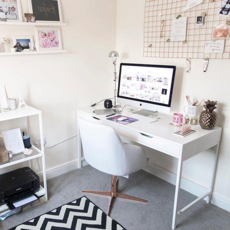 Feminine Homeoffice Desk: 30+ Cool Ideas How To Add Spring Touches To Your Home