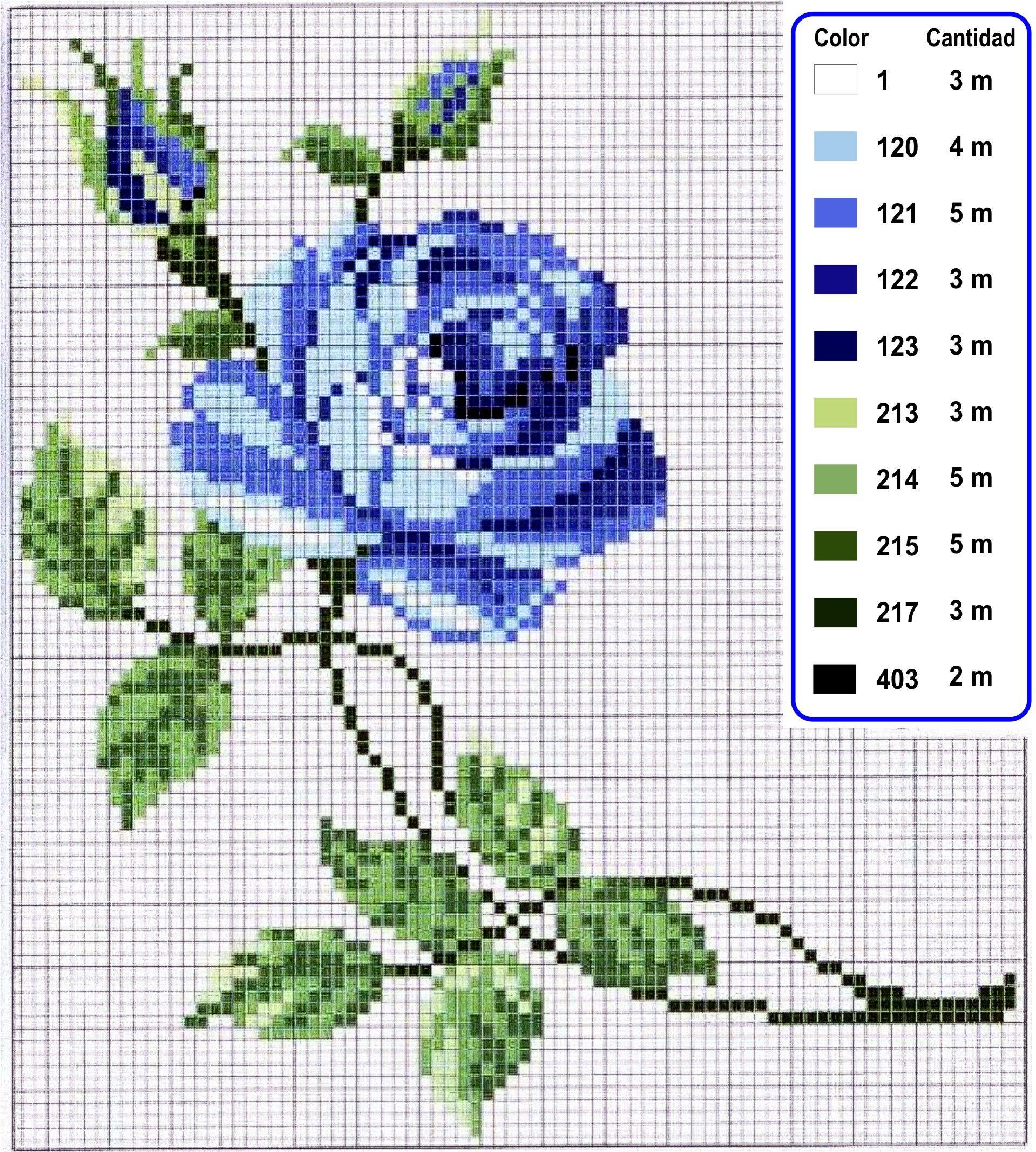 Rosa Azul En Punto De Cruz Punto De Cruz Pinterest Cross