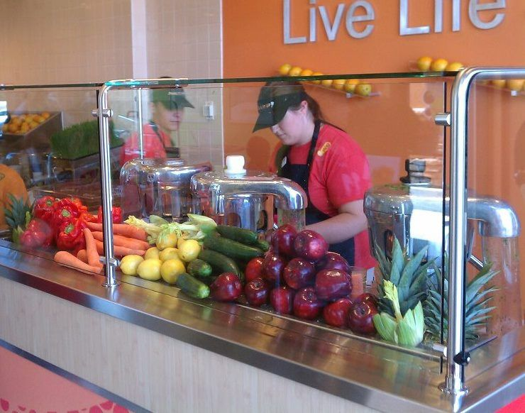 Raw Juice Bar Fruit Vegetable Display At Juice It Up In