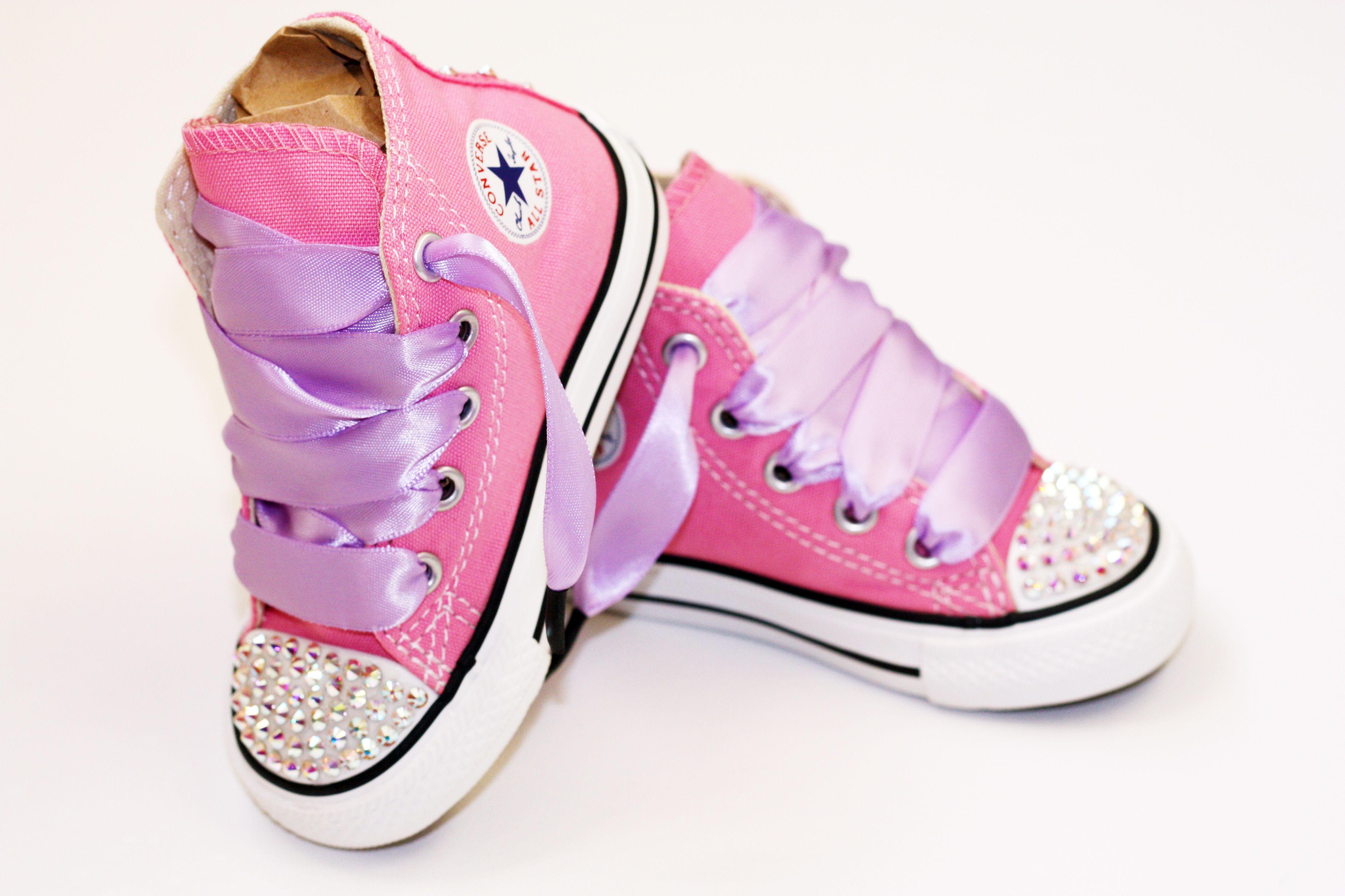 Toddler Hi-Top Pink Converse Chuck Taylor's With Swarovski ...
