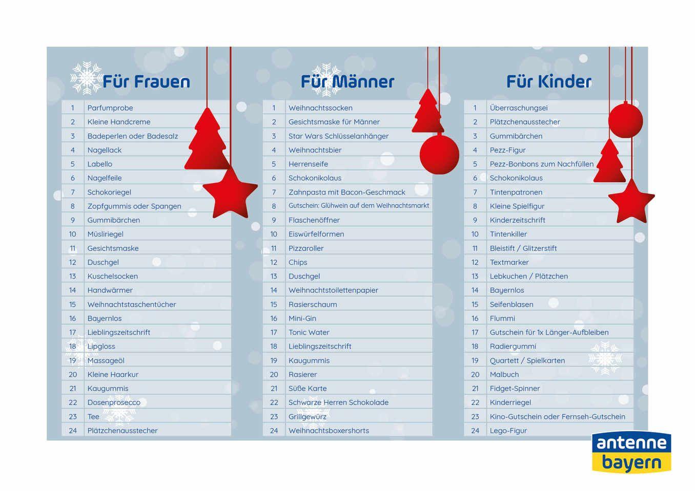 Adventskalender Selber Befullen Die Einkaufsliste Fur Kids Frauen Manner Adventkalender Adventskalender Selber Befullen Adventskalender
