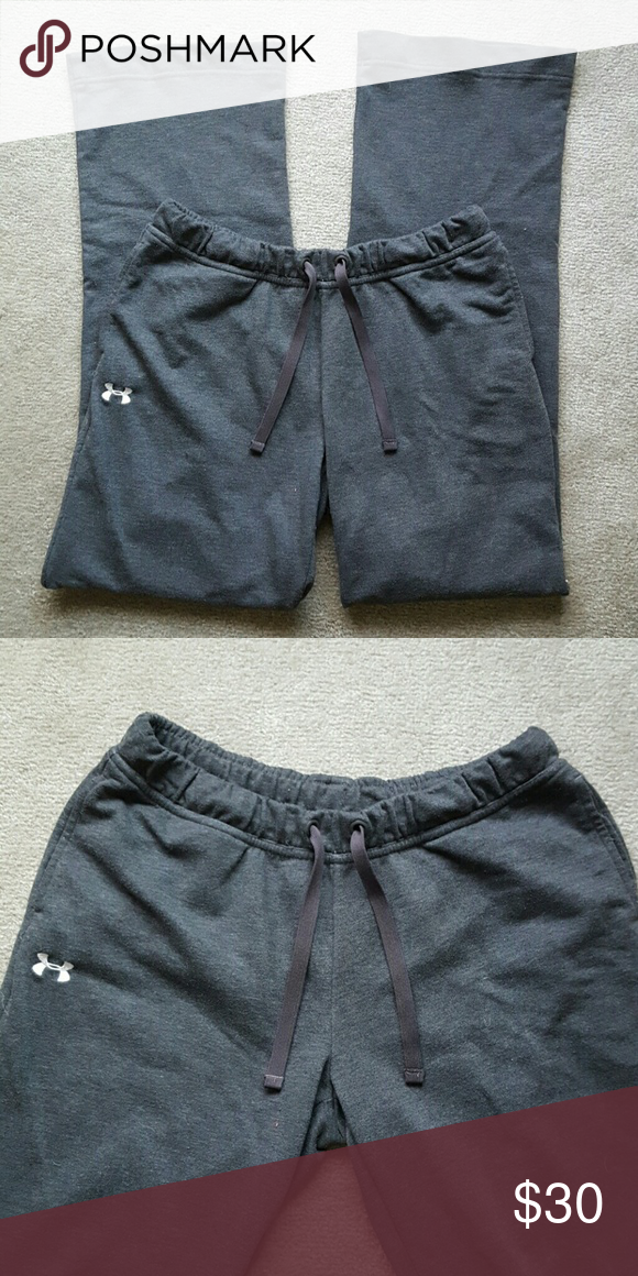 Grey Under Armour Sweatpants Only worn a couple of times! In GREAT condition! Grey under amour sweatpants with drawstring! 2 pockets. Under Armour logo on right leg next to pocket. Size: Small/Medium. NO TRADES. Under Armour Pants