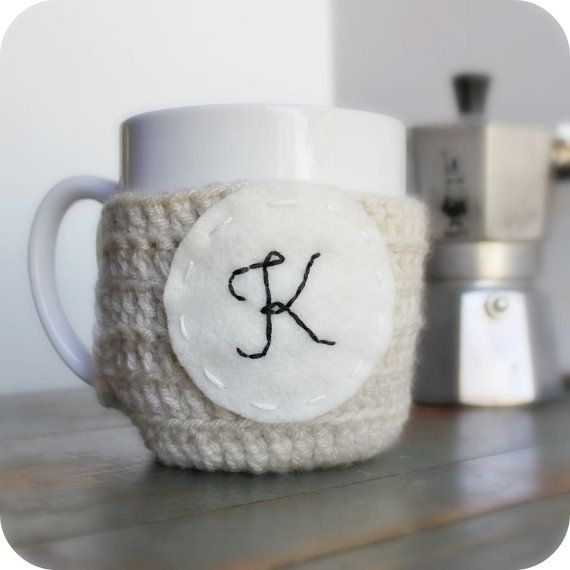 Personalized Coffee Mug Cozy Tea Cosy cream black white crochet ...