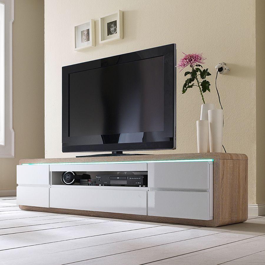 Tv Lowboard Claro Inkl Beleuchtung Eiche Sagerau Dekor Hochglanz Weiss Marine Wohnzimmer Tv Mobel Haus
