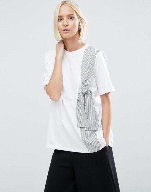 03bbdd188 Compra Camiseta con detalle de lazo a rayas de ASOS WHITE en ASOS. Descubre  la moda online.