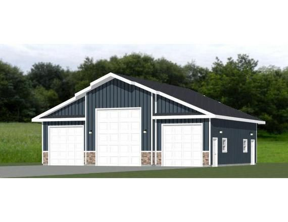46x42 1 Rv 2 Car Garage Pdf Floor Plan 1 821 Sq Ft Instant Download Model 1a Building A Garage Car Garage Metal Garage Buildings