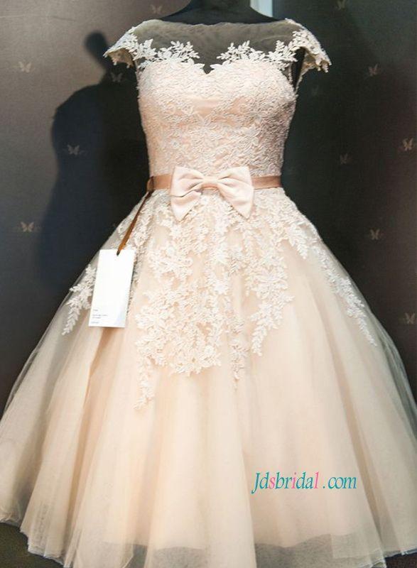 meet hot sales skate shoes H1121 Champagne colored lace tea length vintage wedding ...