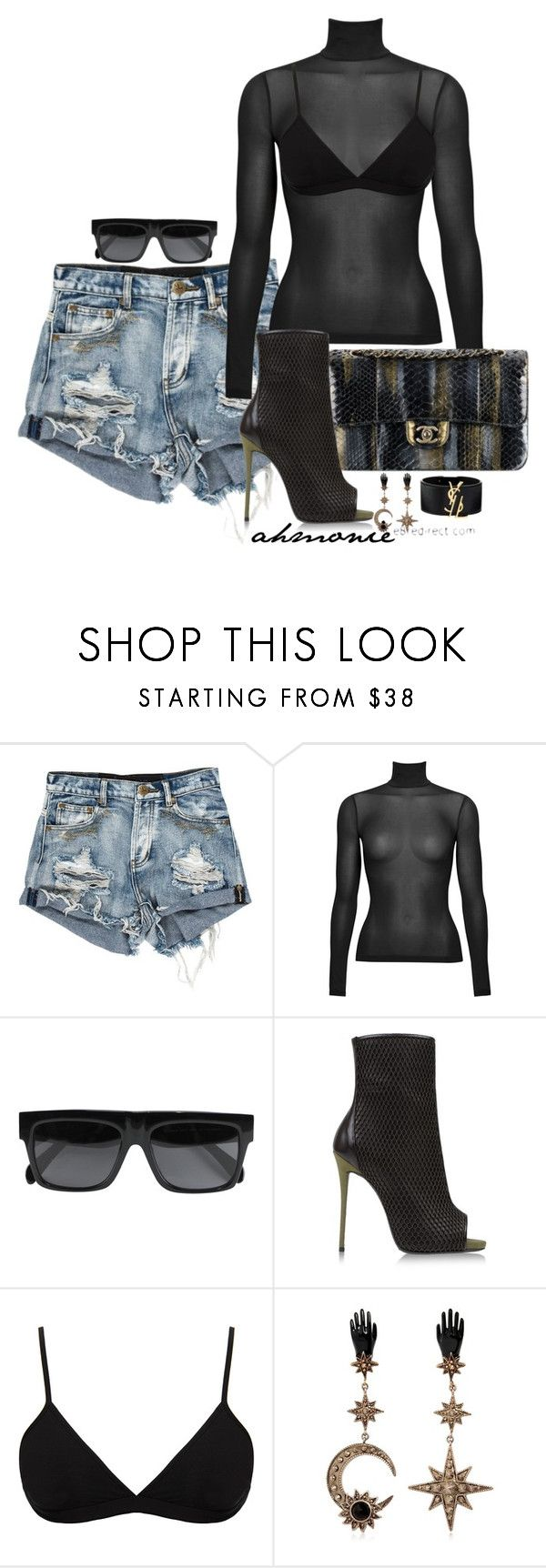 """Untitled #542"" by ahmonie ❤ liked on Polyvore featuring CÉLINE, Giuseppe Zanotti, Helmut Lang, Roberto Cavalli and Yves Saint Laurent"