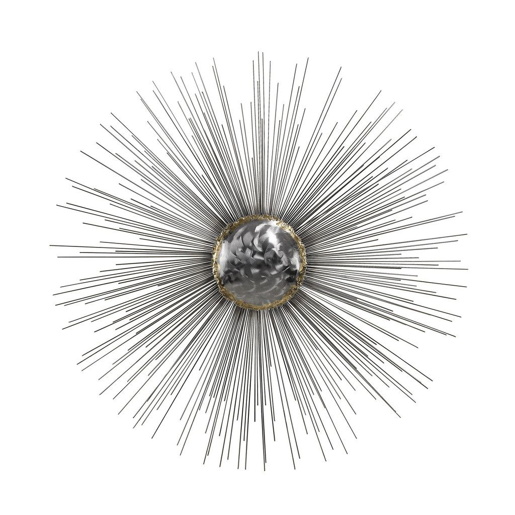 Silver Color Metal Spindles Fanning From A Fixed Metal