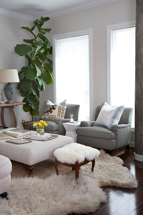 Beautiful Blue Chairs With A Big White Ottoman And Sheepskin Rug