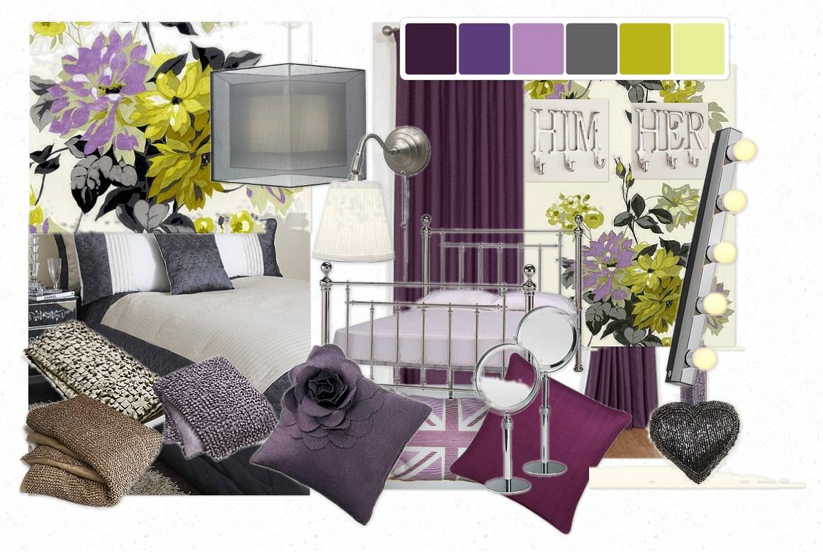 Marvelous Purple And Green Bedroom Decorating Ideas Black Grey And