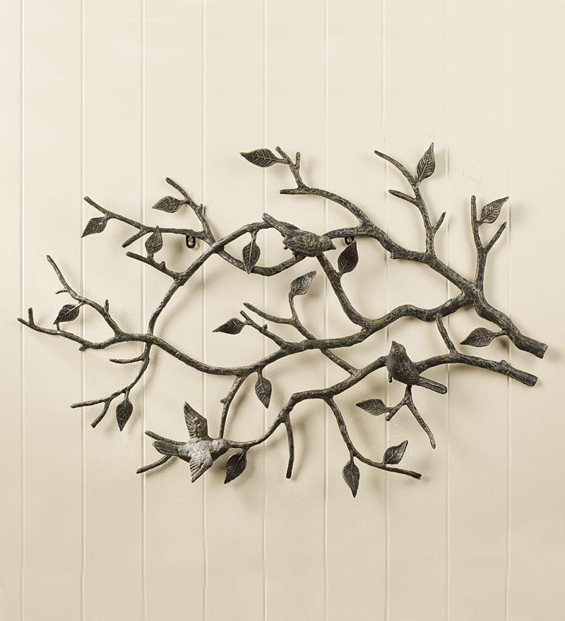 Indoor outdoor cast iron bird branch wall art