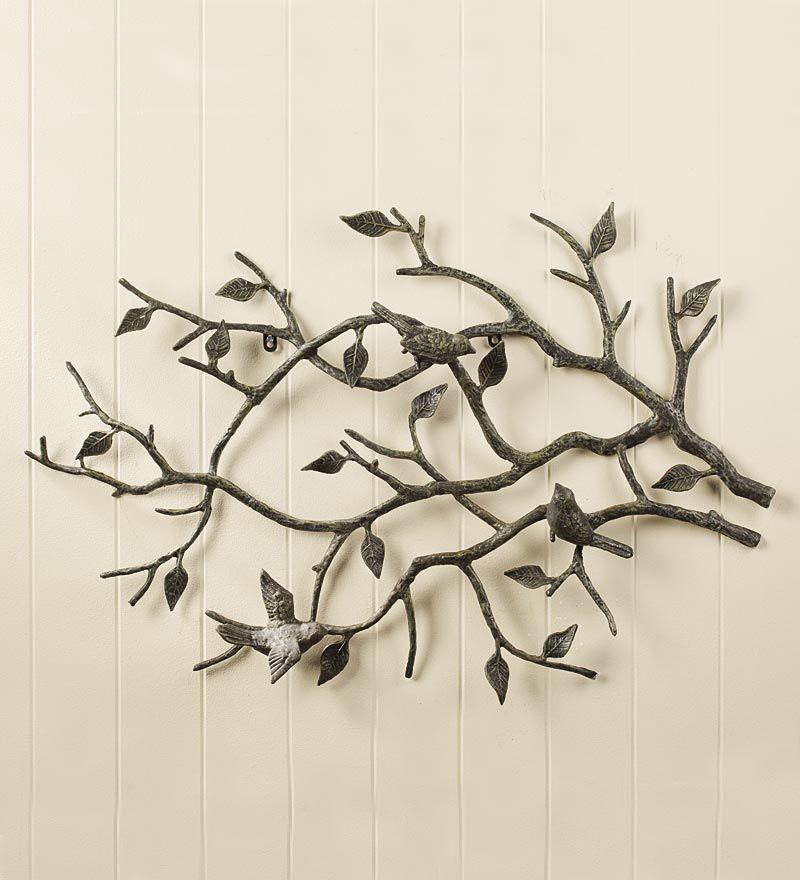 Wall Decor Metal Birds : Indoor outdoor cast iron bird branch wall art metal
