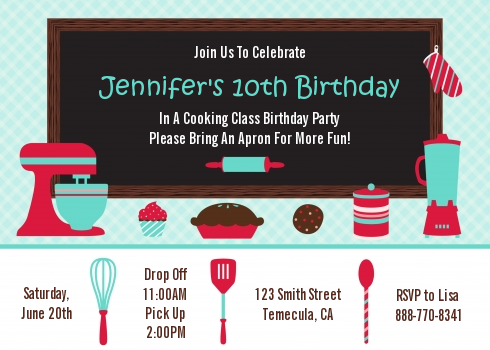 Cooking Class Birthday Party Invitations Class Birthday Cooking Classes Cooking Classes For Kids