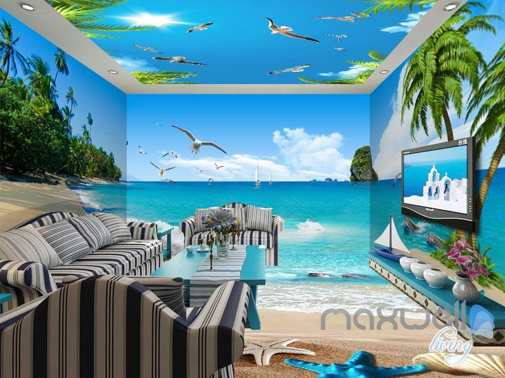 3d Beach Starfish Sea Bird Palm Entire Living Room Wallpaper