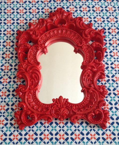 Espelho Moldura Veneziana Vermelha