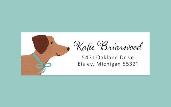 Dachshund Return Address Label Sticker With Hand Painted Dog