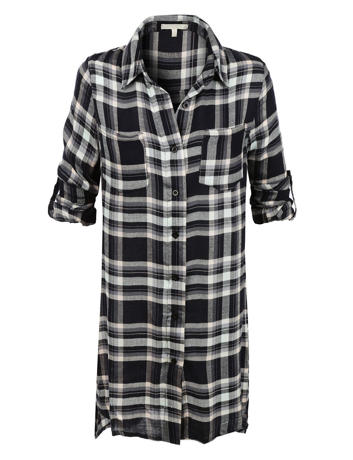 LE3NO Womens Lightweight Flowy Button Down Plaid Tunic Shirt