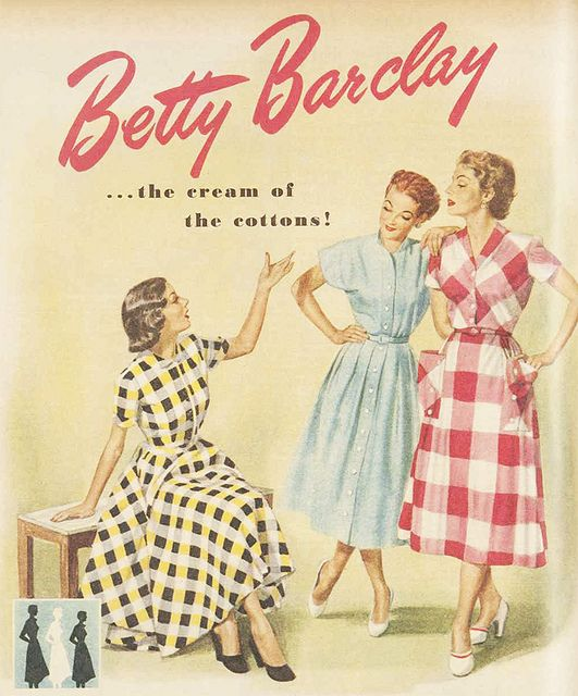 d7aef1689f19b Betty Barclay - The cream of the cottons, c. 1950s. #vintage #1950s #fashion  #ads color photo print ad illustration plaid dress blue yellow red white