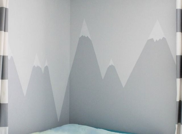 DIY Mountain Wall Mural For A Kids\' Room in 2019 | Mountain ...