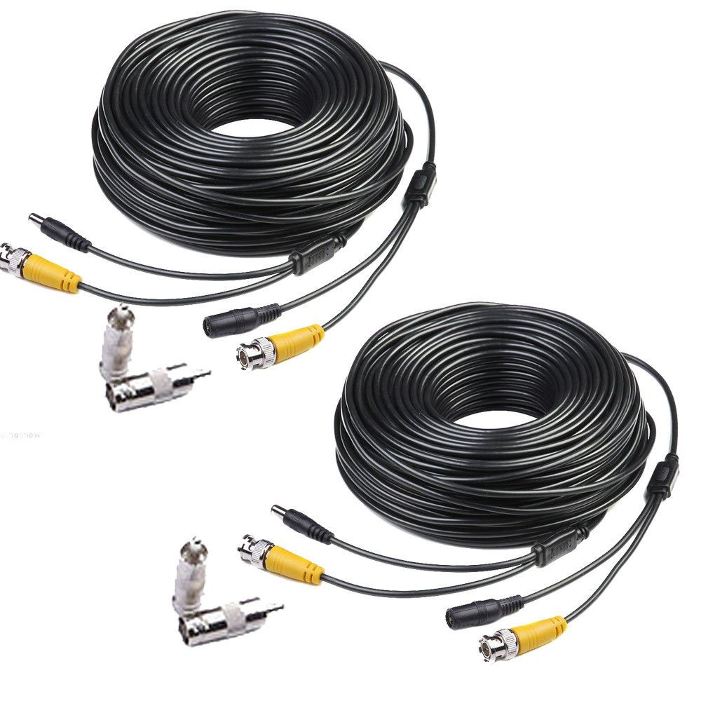 2 X 100ft Bnc Video Power Cable Security Cctv Surveillance Camera Wiring For Home Dvr Cord Masione