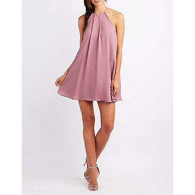 Bridesmaid Purple Bib Neck Shift Dress - Size XL