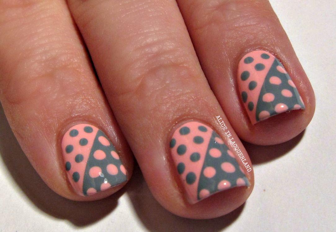 polka dot nail art . I like the contrasts and diagonal. | Nail Art ...