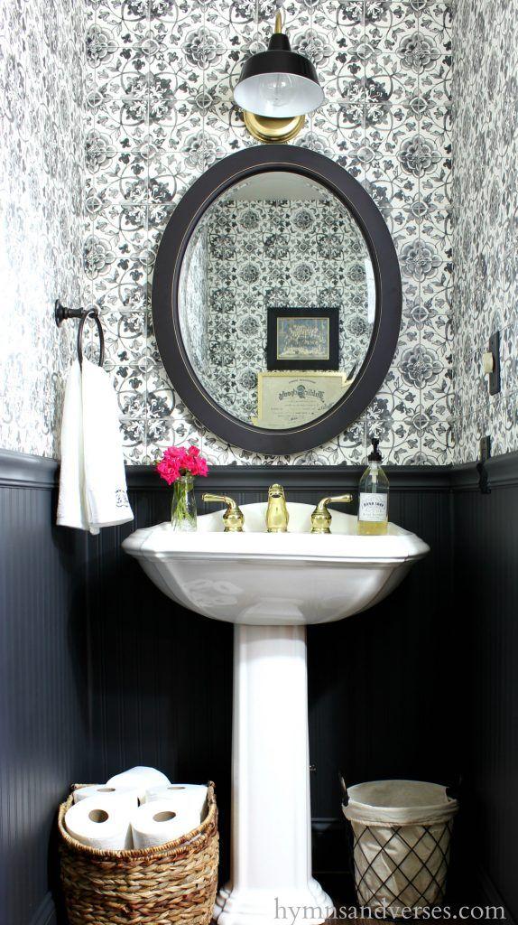 Best Black And White Tile Wallpaper Powder Room Powder Room Decor Powder Room Small Tiny Powder 400 x 300