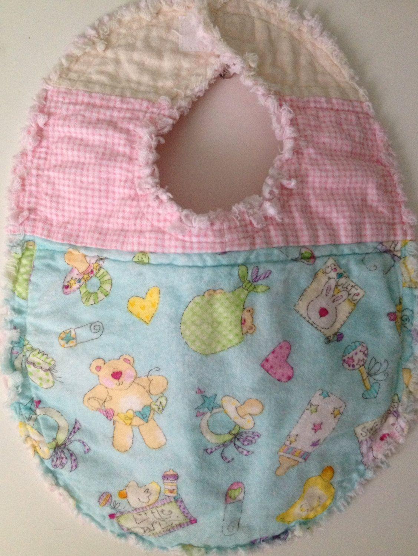 Rag Quilted Aqua & Pink Teddy Bear Baby Bib | Rag quilt, Teddy ... : quilted baby bibs - Adamdwight.com