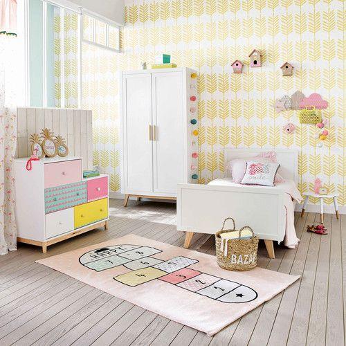 Tapis enfant marelle en coton rose 120 x 180 cm HAPPY | Maisons du ...