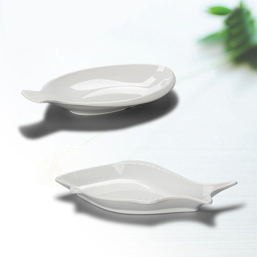 Decorative Plastic Serving Trays Creative White Melamine Fish Dish Plastic Hotel Tableware Plate