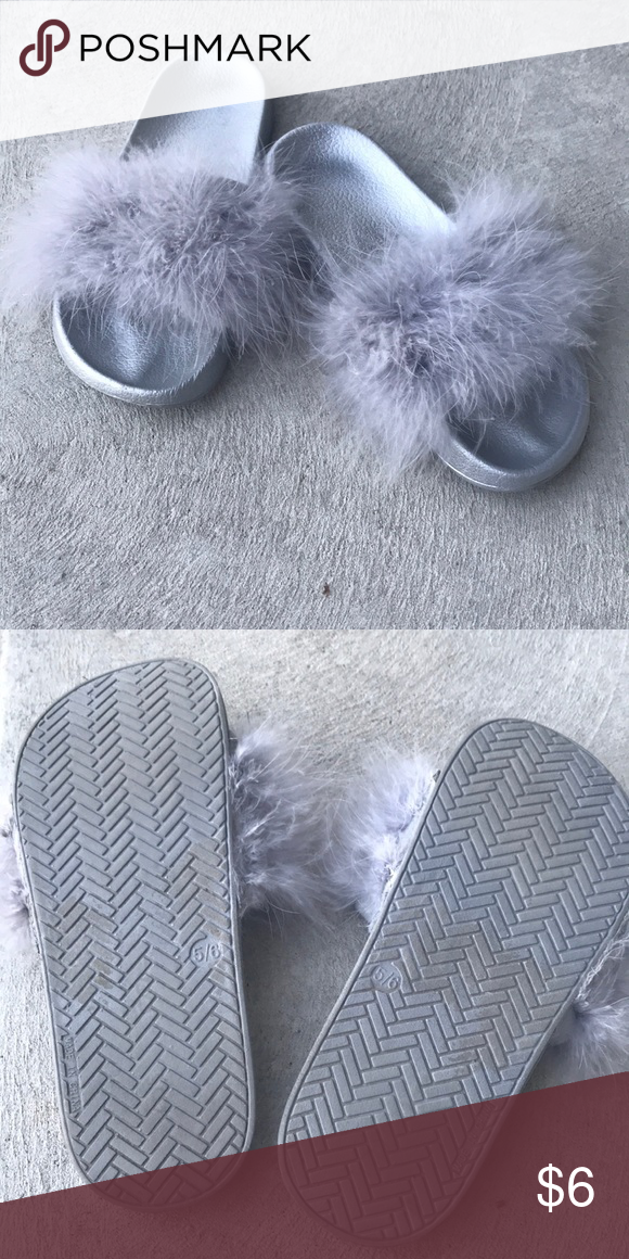"""70348746d8f Furry slides Bought from walmart Worn 1 time Size 5 6 as shown in pic Fun  little slide for a child or woman with """"tiny"""" feet Shoes Flats   Loafers"""