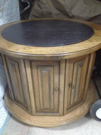 Vintage Round Pecan W Slate Top Side End Table Cabinet