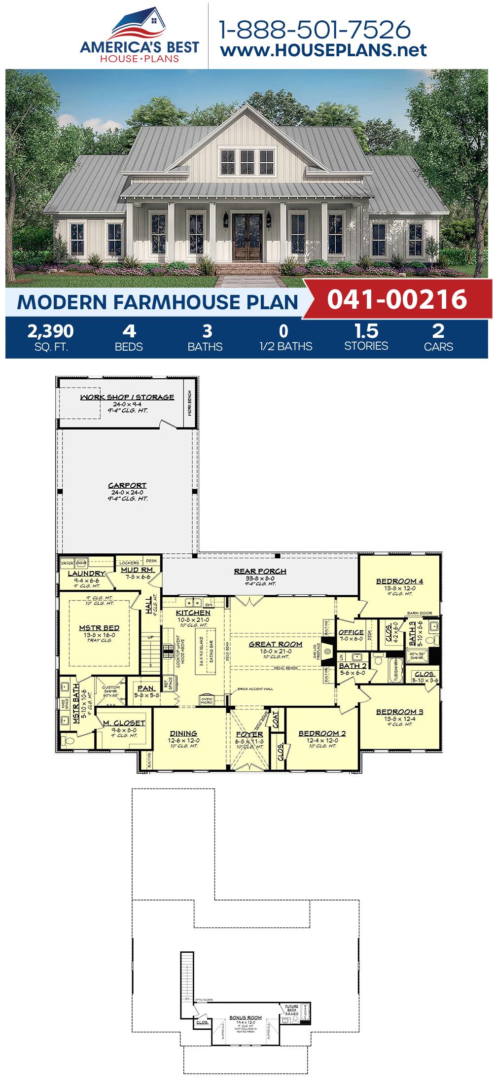 House Plan 041 00216 Modern Farmhouse Plan 2 390 Square Feet 4 Bedrooms 3 Bathrooms In 2020 Modern Farmhouse Plans House Plans Farmhouse Affordable House Plans