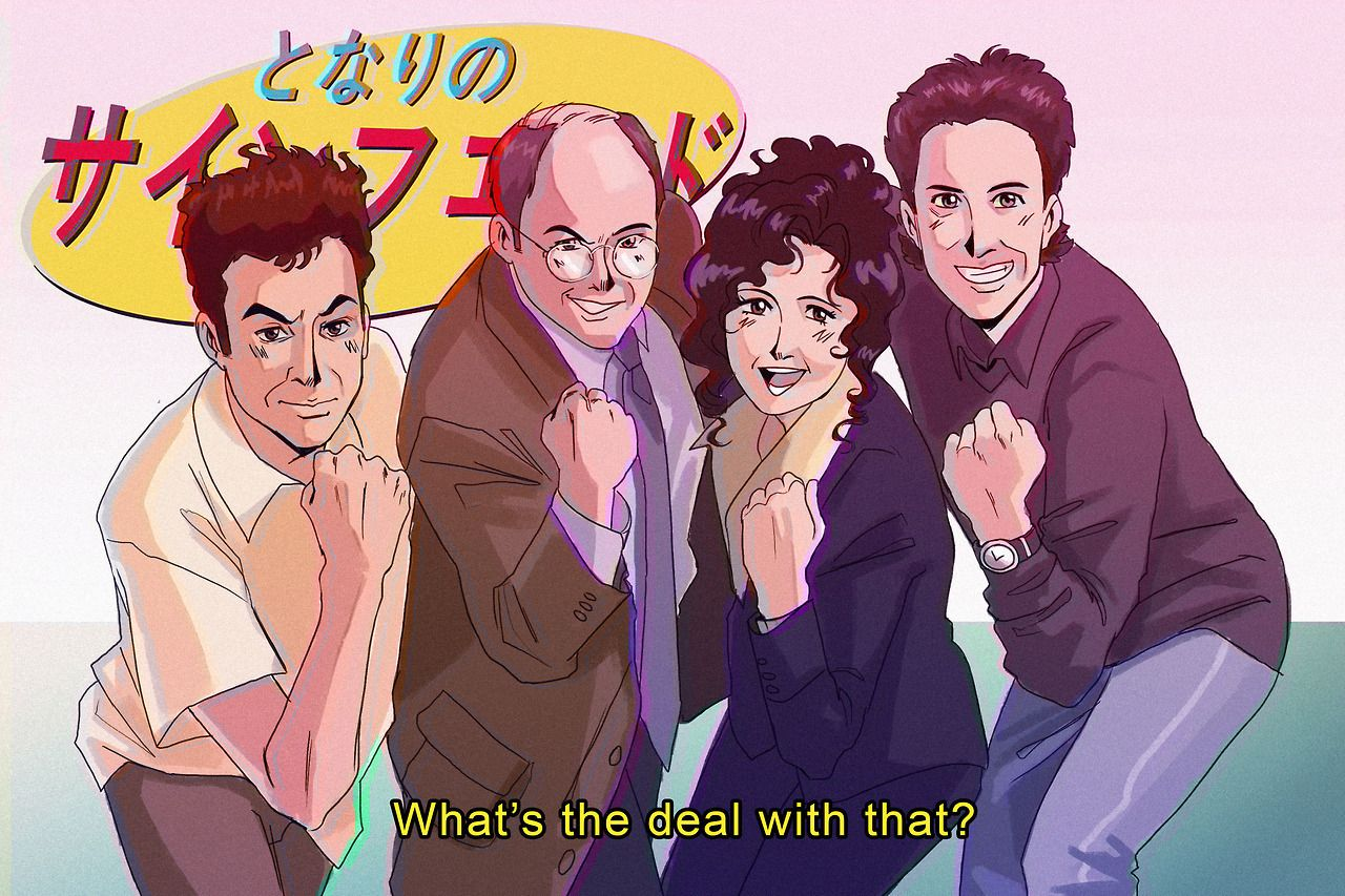 seinfeld san and his tomodachis as a print for metrocon 2017