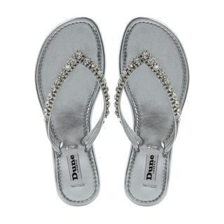 43a0e6a4cae DUNE LADIES KIKI - Diamante Toe Post Flat Sandal - silver