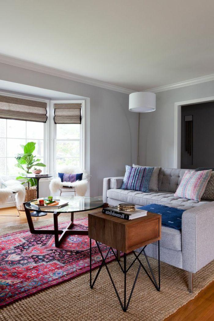 teppich wohnzimmer bunt pflanze retro elemente Wohnzimmer Ideen - teppich wohnzimmer bunt