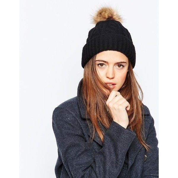 3f1c255008d ASOS Cable Faux Fur Pom Beanie (£12) ❤ liked on Polyvore featuring  accessories