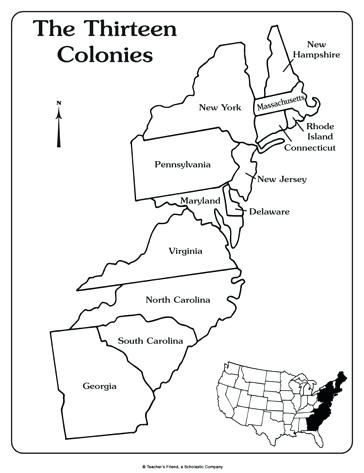 A Blank Map Of The 13 Colonies map of 13 colonies 13