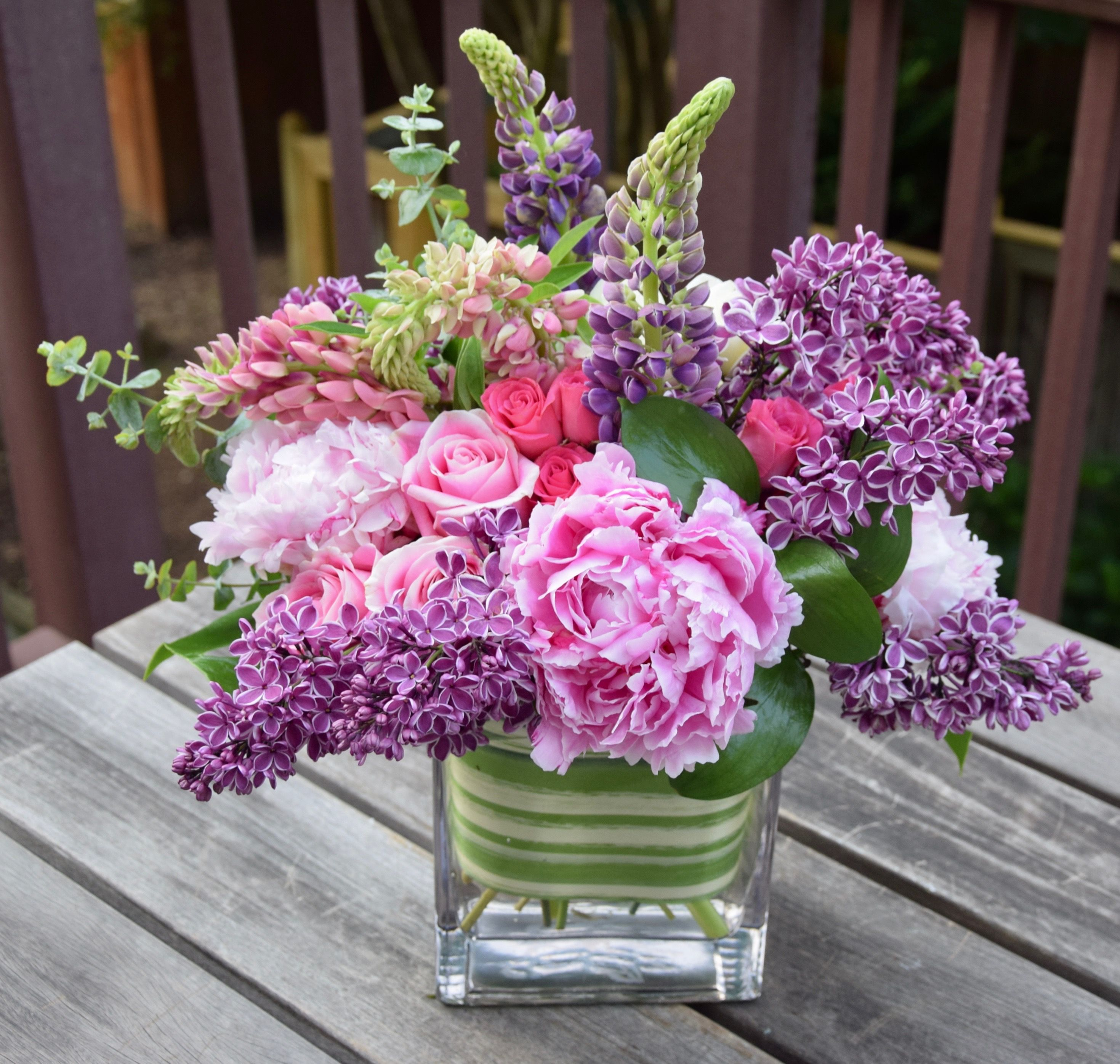 Flower Arrangement With Lilac Lupine Peonies And Roses Fresh Flowers Arrangements Contemporary Flower Arrangements Flower Arrangements