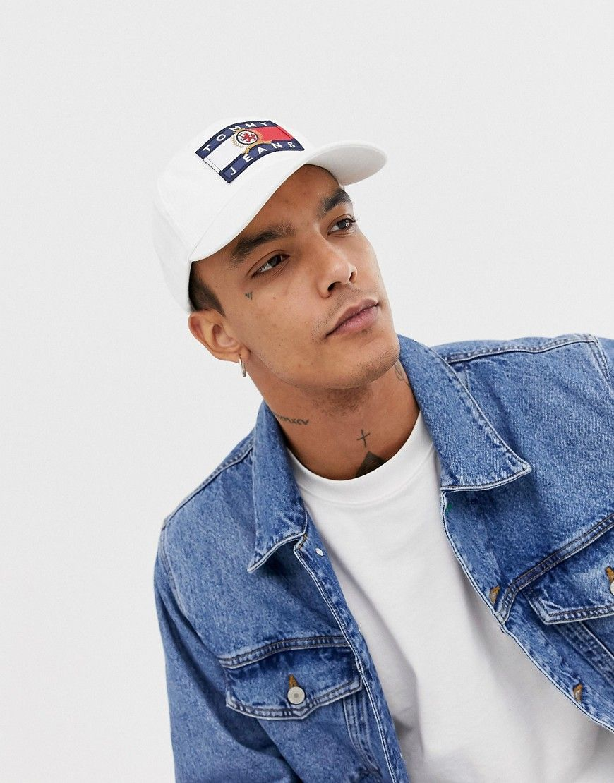 2631df5f4b5b5 TOMMY JEANS 6.0 LIMITED CAPSULE BASEBALL CAP WITH CREST FLAG IN WHITE -  WHITE.  tommyjeans