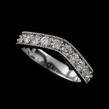 Diamond Wedding Ring Curved Wedding Band Contour Wedding Etsy White Gold Ring Band White Gold Band Moon And Star Earrings