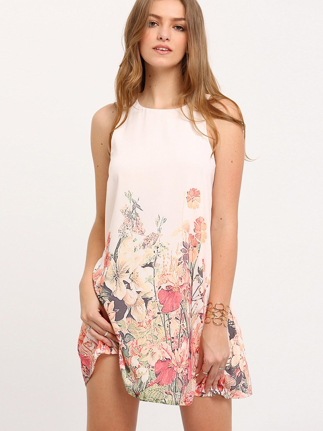 aa8b5dacccc Floral Print Keyhole Back Tank Dress in 2018