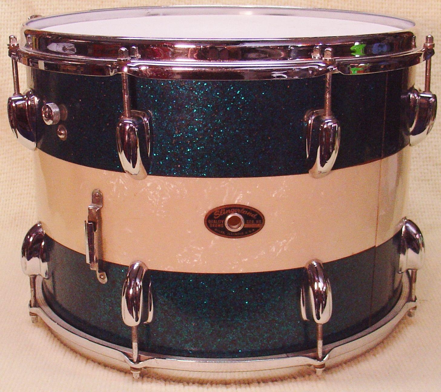 1965 Slingerland 10 X 14 Tenor Tom Aqua Blue Sparkle White Marine Ebay Percussion Instruments Vintage Drums Blue Sparkles