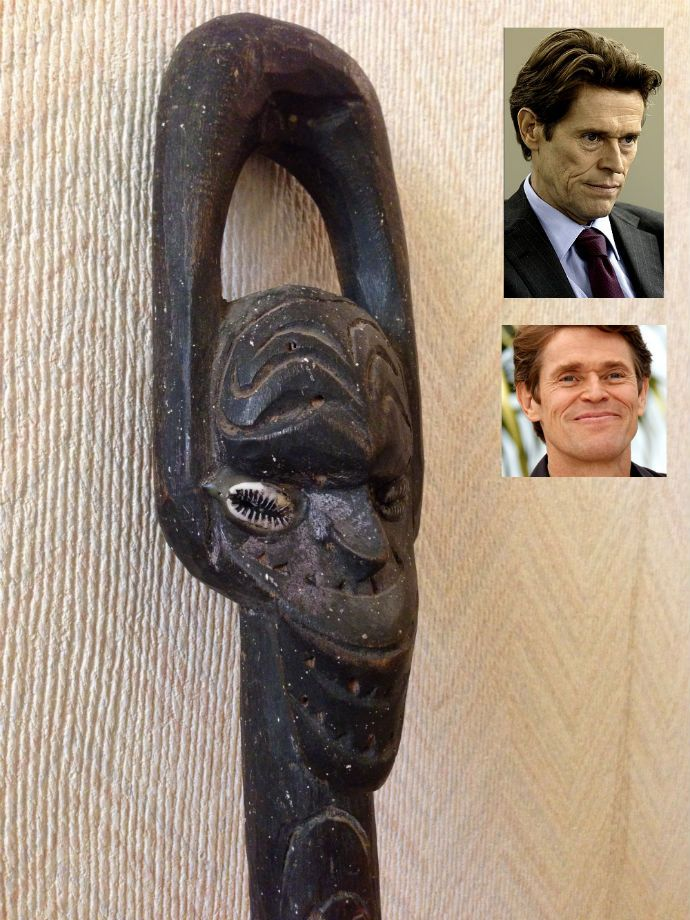 My Papua New Guinean walking stick looks like Willem Dafoe