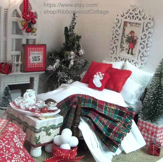Christmas Doll Bedding and Bed-Miniature Dollhouse