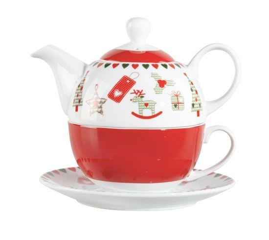 Weihnachtliche Teekanne mit Tasse und Unterteller. Das Set ist Spülmaschinen- als auch mikrowellen geeigent. Ideal als Geschenk für jeden Anlass.