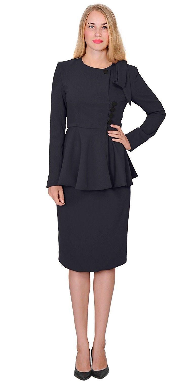 Womens Classy Vintage Peplum Business Church Skirt Suit Dress