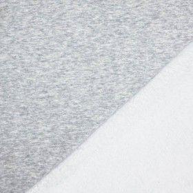 Alpenfleece Sweatshirt Stoff Hellgrau Meliert