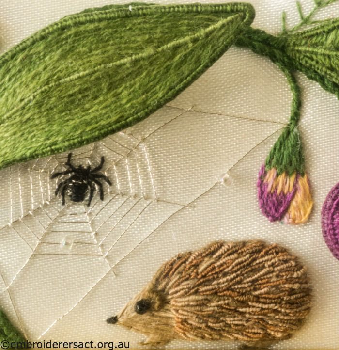 Spider and Hedgehog from Jane Nicholas Mirror 2 stitched by Lorna Loveland